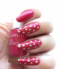 Blogger Funky & Fifty's cute dotted nails; the beautiful cold red shade is Lumene Gel Effect Nail Polish shade 48, Prettiest Rose. #nailpolish #lumene