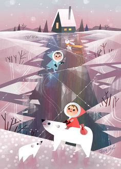 Joey Chou First day of winter, Happy Holidays 2015 everyone! Art And Illustration, Christmas Illustration, Illustrations And Posters, Joey Chou, First Day Of Winter, Tsumtsum, Dibujos Cute, Guache, Animation