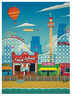 Image of Vintage Coney Island Print SET