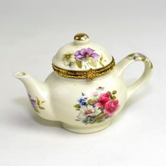 Teapot Trinket Box, Formalities by Baum Bros. - Miniature Porcelain Tea Pot, Small Jewelry Storage - Gold Hinged Lid - Vintage Home Decor on Etsy, $9.95