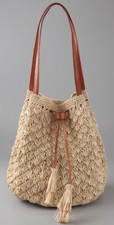 Solana Drawstring Bag- 每年夏天都要入几款草编类包包··这个是最新入的·· 清新,自然···