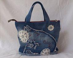 jean denim, white crochet purse