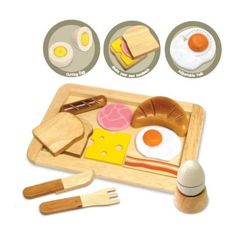 Little chefs will enjoy serving breakfast in style with these beautiful wooden toys from Artiwood! This delightful breakfast set will be a great complement to any kids' toy kitchen!!
