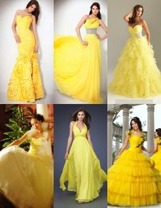 Yellow dresses for summer 2013 are great trendy clothes. I'll share tips how to wear short, long, evening, prom, wedding dress and which style is better to buy Wedding Day Dresses, Yellow Wedding Dress, Evening Dresses For Weddings, Yellow Dress, Evening Gowns, Prom Dresses, Summer Dresses, Formal Dresses, Pageant Gowns