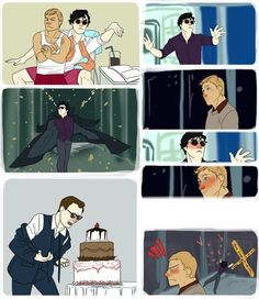 Oppa Sherlock Style! I don't know what's funniest, mycroft and the cake or sherlock ditching John for a crime scene :)