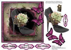 Burgundy Black High Heel Shoe Decoupage on Craftsuprint - Add To Basket!