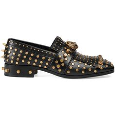 Gucci Fringe Leather Loafer With Studs ($1,270) ❤ liked on Polyvore featuring men's fashion, men's shoes, men's loafers, men, moccasins & loafers, shoes, mens loafer shoes, mens spiked shoes, mens driving moccasins loafers and mens black leather shoes