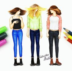This is me and Kenadie and Riley😇😇😇 Best Friend Drawings, Bff Drawings, Girly M, Bff Pictures, Best Friend Goals, Best Friends Forever, Beautiful Drawings, People Art, Bffs