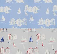 Clarke & Clarke Beach Huts Blue Cotton Designer Curtain Fabric Material £7.99 m | eBay