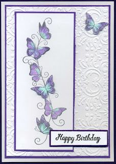night time stamping: Butterfly border Butterfly Birthday Cards, Birthday Cards To Make, Butterfly Cards Handmade, Homemade Birthday Cards, Birthday Cards For Women, Bday Cards, Birthday Cards With Flowers, Flower Cards, Birthday Greeting Cards Handmade