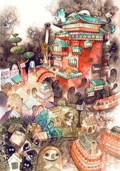 Spirited Away - Studio Ghibli / Hayao Miyazaki Hayao Miyazaki, Studio Ghibli Films, Art Studio Ghibli, Spirited Away Art, Film Animation Japonais, Personajes Studio Ghibli, Chihiro Y Haku, Hotarubi No Mori, My Neighbor Totoro