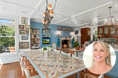 Christie Brinkley Selling Tower Hill Hamptons Home- Eat-in Kitchen Table has a whimsical design and inspiring white director-style chairs Hamptons House, The Hamptons, Eat In Kitchen Table, Kitchen Ideas, Whimsical Kitchen, Diy Home, Home Decor, Storybook Cottage, Christie Brinkley