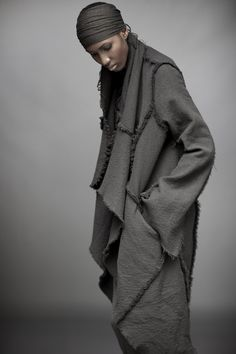 Raw edge blanket coat. $2795. Urban zen elements II collection. FW_elementsII_coll_023