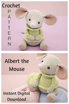 Albert the Mouse is an adorable crochet doll that you can create with this pattern. This is an Instant Digital Download pattern so you can start gathering your supplies to make it right away! #crochet #crochetdoll #amigurumi #ad #amigurumidoll #instantdownload
