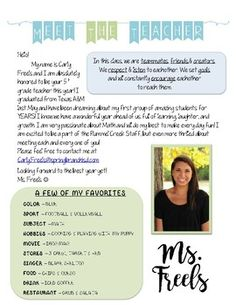 """I wanted to share my """"Meet the teacher"""" letter for back to school night! I used special fonts, so I uploaded the PDF version. Please let me know if you want the word doc so you can edit it for yourself! Good luck & ENJOY!"""