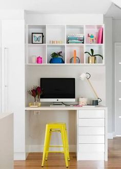 Home Office Designs - Home offices are now a norm to modern homes. Here are some brilliant home office design ideas to help you get started. Hallway Office, Office Nook, Home Office Design, Home Office Decor, Home Decor, Office Ideas, Office Designs, Small Room Desk, Study Table Designs