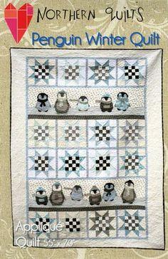 Penguin Winter ~ Applique Quilt Pattern ~ Northern Quilts of Norway ~ children Quilting Tutorials, Quilting Projects, Quilting Designs, Quilting Ideas, Sewing Projects, Boy Quilts, Star Quilts, Quilt Blocks, Bird Quilt