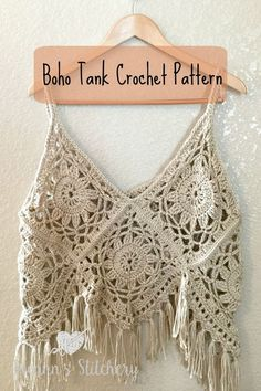 I love this fun, funky, fring-y Boho Tank Top Crochet Pattern! It's super cute layered with long necklaces over a sundress. You could even use cotton yarn and wear it over a bathing suit. It