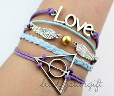 Harry potter deathly glamour infinite love bracelet with purple blue rope rope blue wings leather braided bracelet charm fashion -Q292by luckystargift, $5.30