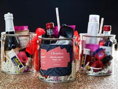 This bachelorette party kits are perfect to make your graduation party super special with a paint bucket gift container. It has your daily items from hair spray, lipstick and nail polish. It makes your arty a bit on the wild side. Party Kit, Diy Party, Party Ideas, Gift Ideas, Fun Ideas, Bachelorette Party Decorations, Bachelorette Party Favors, Mini Alcohol Bottles, Champagne Bottles