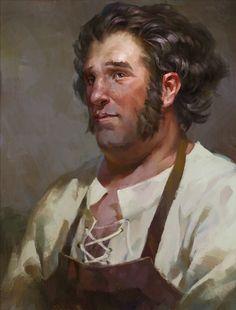 painterly male portrait art.