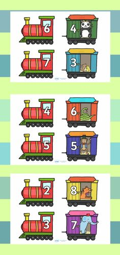 These lovely trains and carriages feature different number bonds to ten. Cut out and use as a fun matching game or put up on display to aid your teaching on this topic. Number Sense Kindergarten, Kindergarten Math, Teaching Math, Learning Numbers, Math Numbers, Number Bonds To 10, Ks1 Maths, 1st Grade Math, First Grade
