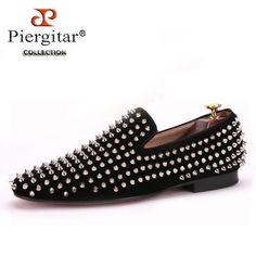 Handmade men black nubuck leather shoes with silver rivet Fashion CL same  style men loafers red bottom men s flats Size US 4-17 ae71a613fd7f