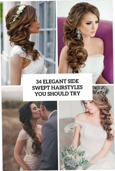 Picture Of Wedding Hairstyles Side Swept Curls-Mensfashionmagazine pertaining to Wedding Side Swept Hairstyles Bridesmaid Hair Medium Length, Bridesmaid Hair Half Up, Wedding Hair Half, Long Hair Wedding Styles, Wedding Hairstyles For Long Hair, Elegant Hairstyles, Formal Hairstyles, Bridesmaid Hairstyles, Creative Hairstyles