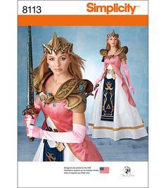 Simplicity Pattern 8113 Misses' Princess Warrior Costume with Craft Foam Armor, Belt and Crown, Princess Zelda, Warrior Queen, Cosplay Warrior Queen, Warrior Princess, Angel Warrior, Craft Foam Armor, Patron Simplicity, Costume Carnaval, Cosplay Events, Princess Adventure, Fantasy Princess