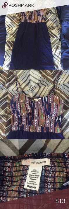 Sun dress Tribal print top, with loose navy blue bottom. Worn once for graduation. Very light weight so perfect for summer! Self Esteem Dresses Midi