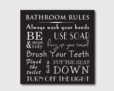 Typography Art Print - Bathroom Rules - Bathroom Wall Art - Subway Art - 10 x 10 print on vintage or chalkboard background