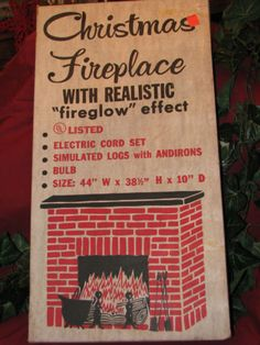 VINTAGE TOY MASTER CHRISTMAS CARDBOARD ELECTRIC FIREPLACE IN ORIGINAL BOX