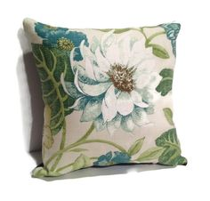 Decorative Blue and Green Floral Throw Pillow, home decor, toss pillows