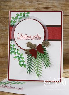 Christmas Cards using Holly Berry Happiness.  Create this stunning card using the Holly Berry Happiness stamp set and Pretty Pines thinlets dies.  Tutorial on my website. http://www.stampinbythesea.com
