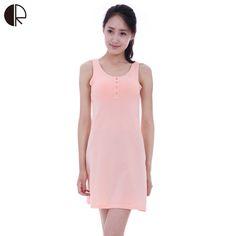 New Women s Casual Built In Bra Nightgown O-neck Lounge Cotton Sleepwear  Summer Dress 1db9c366f
