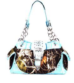 Blue Camo Fashion Western Buckle Gun Purse Handbag With Rhinestones