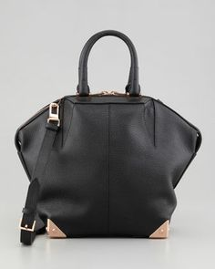 Small Emile Tote Bag, Black/Rose Gold