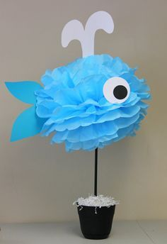 Whale tissue paper pom pom kit under the sea ocean water mermaid decoration Diy Baby Shower Decorations, Ocean Party Decorations, Under The Sea Decorations, Under The Sea Theme, Under The Sea Party, Diy Shower, Shower Ideas, Mermaid Birthday, Birthday Parties