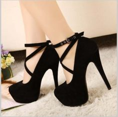 CHIQ   Black Platform Strap Heels