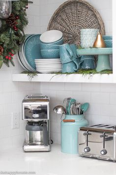 Christmas Kitchen Open Shelves Decor Ideas. Christmas Kitchen Decor. #Christmas #Kitchen #ChristmasKitchenDecor  The Happy Housie.