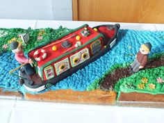 Detail of anniversary cake - you probably worked out that my folks really enjoy canal-boating!