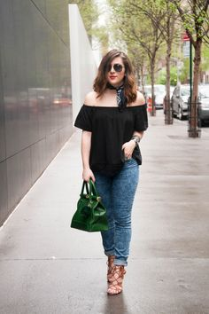 {Denim Day   Simply Audree Kate} Spring outfit with a black off the shoulder top, vintage neck scarf, acid wash jeans, and green ostrich bag