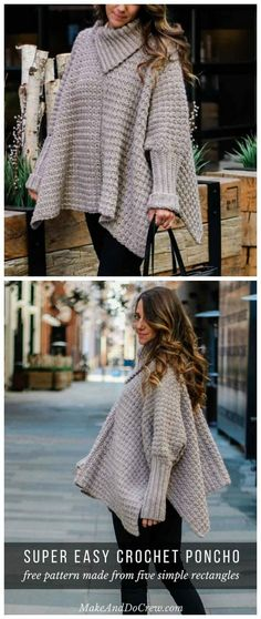 52 Ideas Crochet Poncho Sweater Pattern Crafts For 2019 Poncho Au Crochet, Pull Crochet, Crochet Poncho Patterns, Free Crochet, Irish Crochet, Knit Shrug, Crochet Sweaters, Crochet Patterns Free Women, Knitting Patterns Free