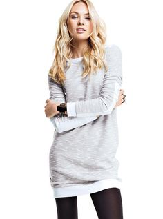 """t'is the season for """"Sweatshirt Dress""""es, knee high boots, and a hand-knit hat in every color. It's a good thing I knit!"""