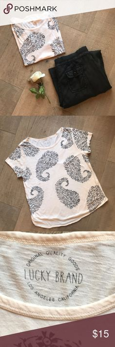 """Paisley T - Shirt - only worn a few times! Soft 100% Cotton.  Measured laid flat.  23.5"""" long.  Shoulders- 15.5.  Under arms - 19"""".  Across bottom - 22.5"""".  Midsection - 20.5"""".  Comfy T - Shirt!  Wash on delicate for best wear! Lucky Brand Tops Tees - Short Sleeve"""