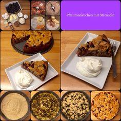 Pflaumenkuchen / Zwetschgenkuchen mit Mandel-Zimt-Streuseln 26er Form Teig 120 g Mehl 100 g Butter, zimmerwarm 100 g Zucker 60 g Mandeln 2 Eier 1 TL Backpulver 1 TL Vanillezucker 1 Pri...