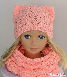 Ажурная шапочка с ушками - Вяжем вместе он-лайн - Страна Мам