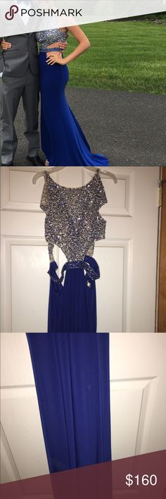 Madeline Gardner royal blue prom dress I absolutely love it this prom dress is was perfect. It is a size 2 and has been taken in a bit around the shoulders. The beading is flawless, all are still in tack. There are no stains or rips what so ever. The back is pretty much open (I don't have a picture but I will take one with it on upon request). I'm asking $160 or best offer since I bought the dress for over $450 and it is in perfect condition. I would love for anyone to make use to this dress…