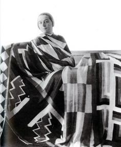 paris/berlin — Sonia Delaunay with scarves she designed, 1923.