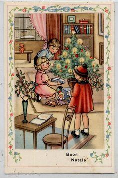 Bambini Albero Giocattoli Bambola PC Circa 1940 ITALY Xmas Childrens